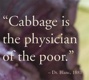 Cabbage is the physician of the poor.  - Dr. Blanc, 1881